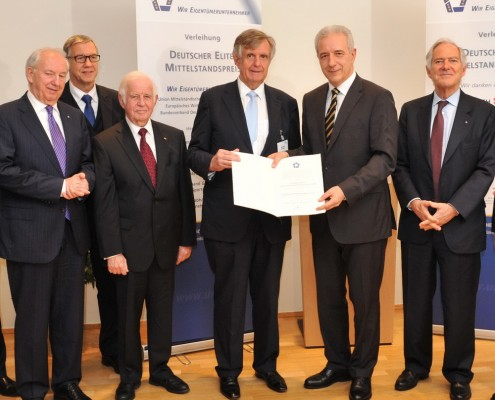 v.l. Dr. Ingo Friedrich, UMU-Exekutivpräsident, Dr. Walter Döring, Präsident EWiF und BM, Ministerpräsident a.D. Prof. Dr. Kurt Biedenkopf, UMU-Präsident Hermann Sturm, Ministerpräsident Tillich, Prof. Dr. h.c. Roland Berger,