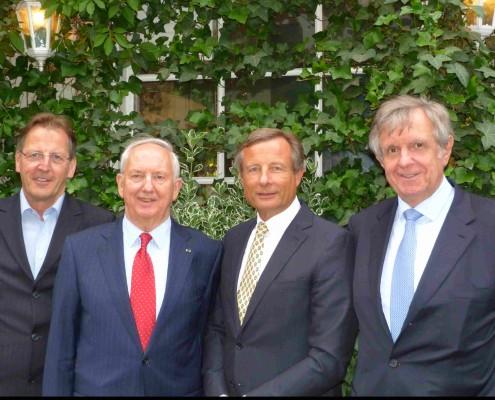 v.l. Vizepräsident Claus Lohse, Exekutivpräsident Dr. Ingo Friedrich, Präsident elect Dr. Yorck Otto, Präsident Hermann Sturm